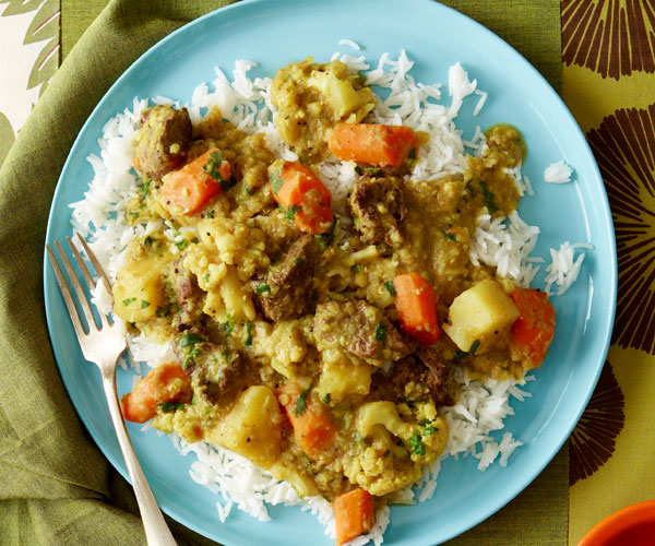 Spicy Red Lentil Dal with Lamb and Vegetables