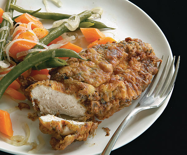 Tea-Crusted Fried Chicken with Pickled Green Beans and Carrots
