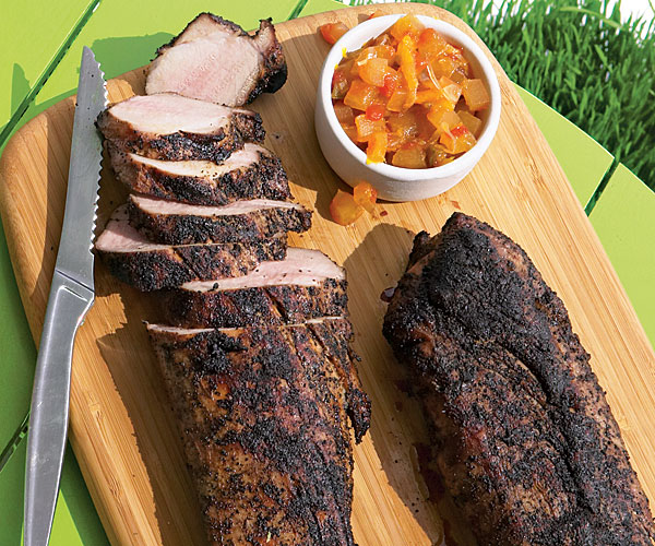 Coffee Rubbed Grilled Pork Tenderloin With Watermelon Rind Relish