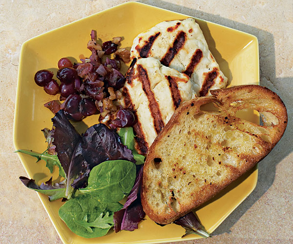 Grilled Halloumi with Rosemary-Grape-Walnut Relish and Garlic Bread -  Recipe - FineCooking