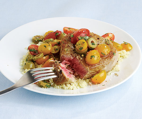 pan-seared tuna steaks with warm tomato, basil, and olive salad ...