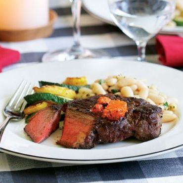 New York Strip Steaks with Sweet Pepper-Chorizo Butter