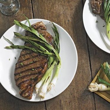 Marinated Strip Steak with Grilled Scallions