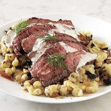 Grilled Steak and Peppered Spaetzle with Black Trumpet Mushrooms