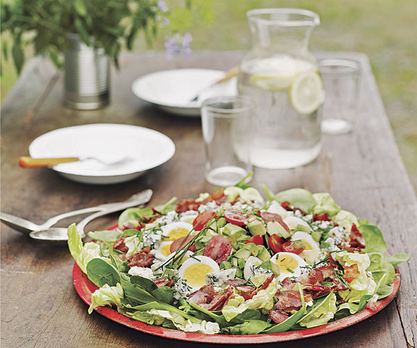 Spinach Cobb Salad with Bacon, Blue Cheese, Avocado & Derby Dressing
