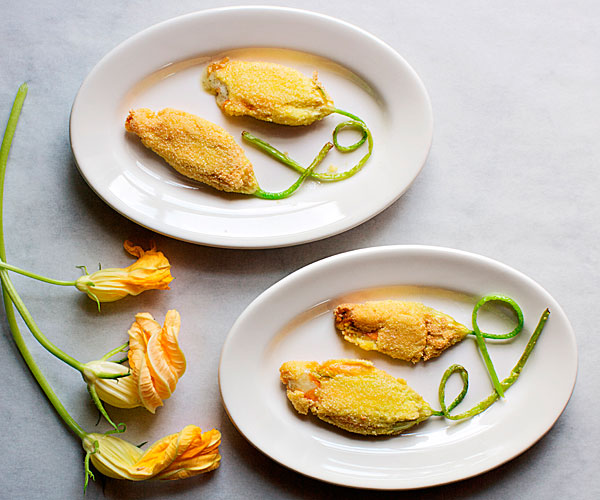 Fried Squash Blossoms with Filberts and Bayley Hazen Blue