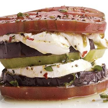 Recipe: Eggplant, Heirloom Tomato, and Buffalo Mozzarella Stacks