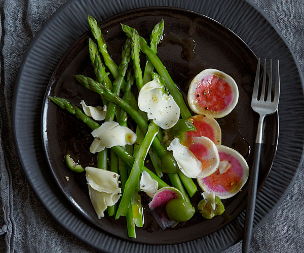 Shaved Watermelon Radish and Asparagus Salad with Castelvetrano Olives and Gouda