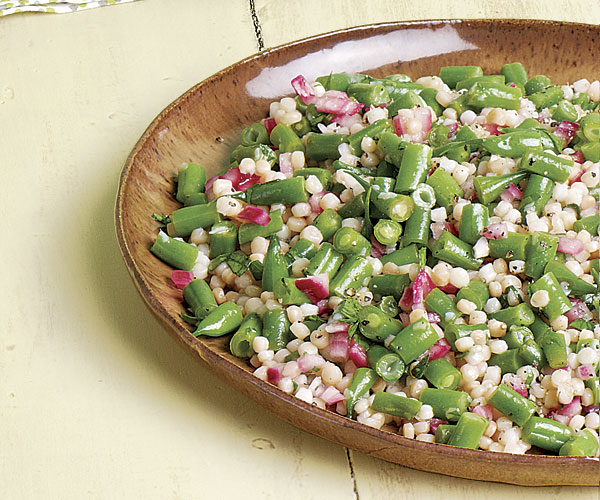 Green Bean and Israeli Couscous Salad with Pickled Red Onions recipe