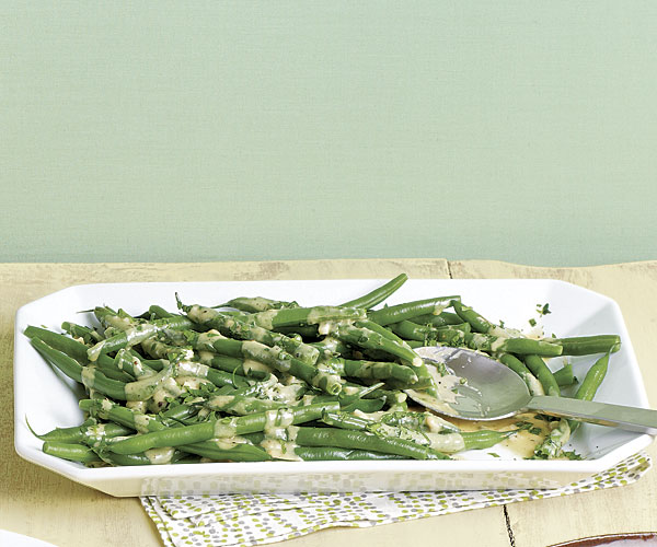 Green Beans with Parsley and Sesame Tahini Sauce recipe