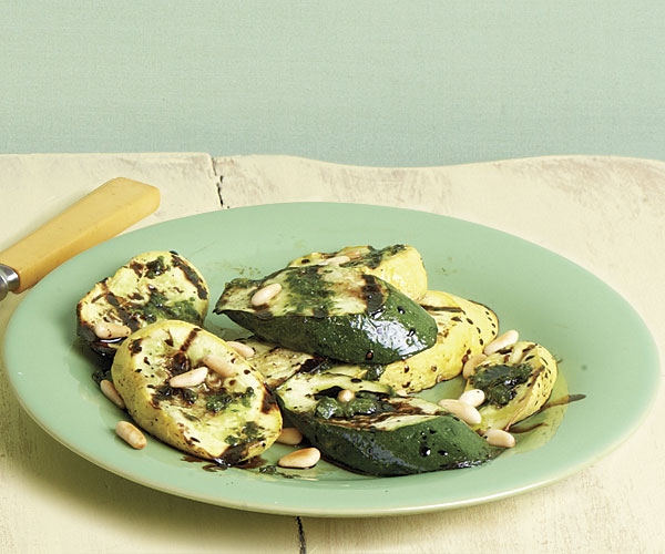 Grilled Summer Squash with Pesto and Balsamic Syrup recipe