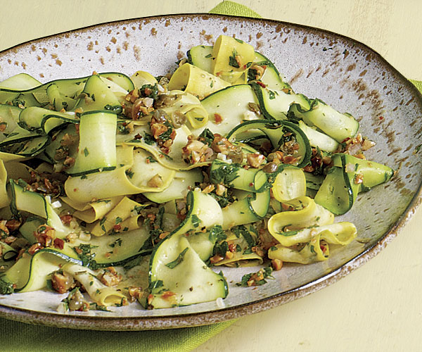 Shaved Summer Squash with Almond Salsa Verde recipe