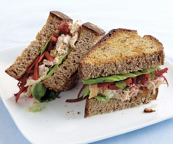 Brazilian Chicken Salad Sandwich with Raw Celery & Grated Beets recipe