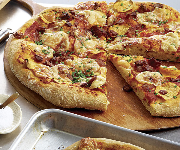 Sicilian-Style Pizza with Sweet Potatoes, Bacon, Provolone and Chives