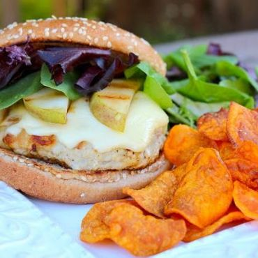 Turkey Burgers with Gouda and Pear