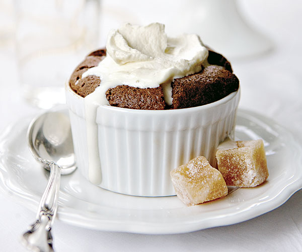 Chocolate Soufflés with Brown Sugar and Rum Whipped Cream recipe