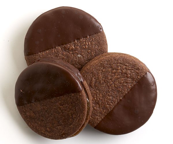 Chocolate-Dipped Chocolate-Apricot Sandwich Cookies