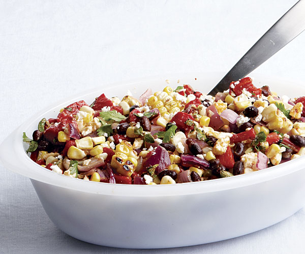Spicy Grilled Corn Salad with Black Beans and Queso   Fresco