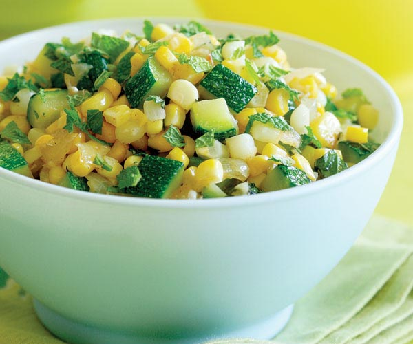 Corn, Sweet Onion & Zucchini Sauté with Fresh Mint