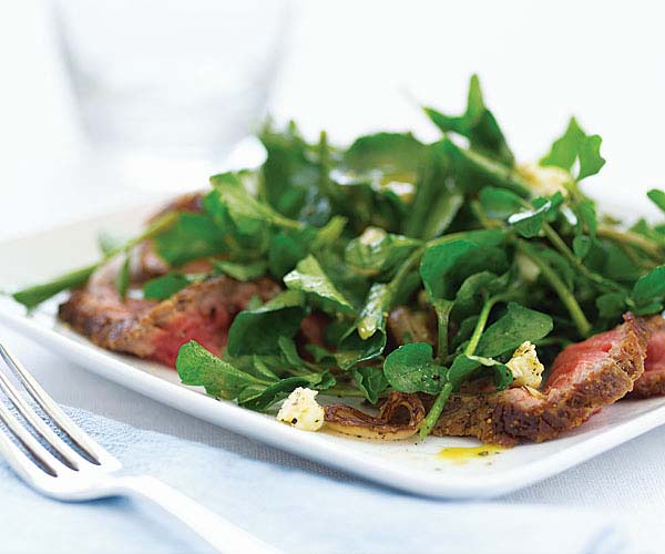 Watercress Salad with Steak, Sauteed Shallots & Stilton