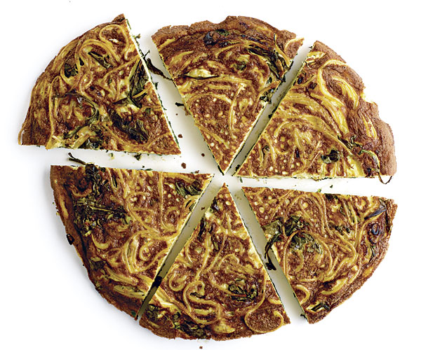 Spaghetti Frittata with Arugula and Fresh Herbs