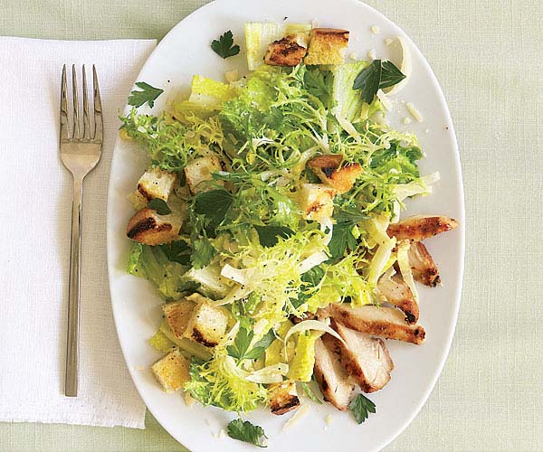 Grilled Chicken Caesar Salad With Garlic Croutons Recipe Finecooking