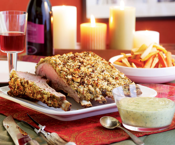 Roast Rack of Veal with a Lemon, Caper, and Tarragon Crust