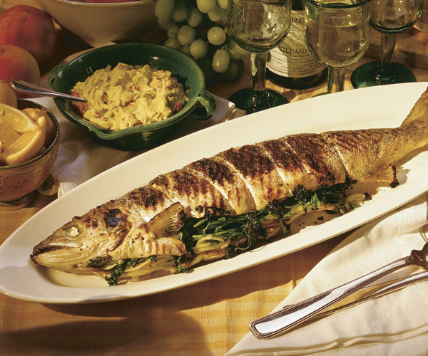 Grilled Whole Salmon with Red-Pepper Aioli