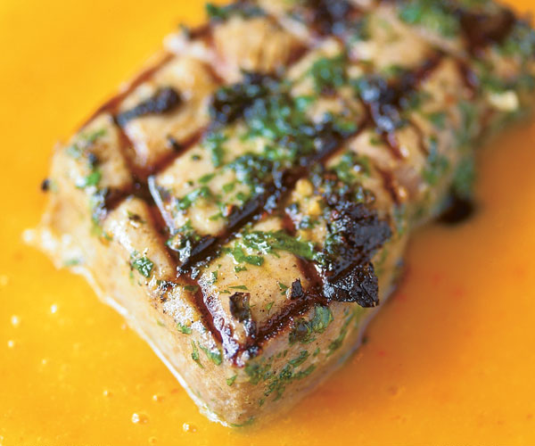Grilled Tuna Steaks with Mango Habanero Mojo