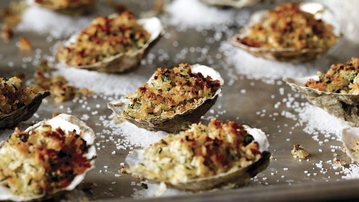Oysters Gratiné on the Half-Shell