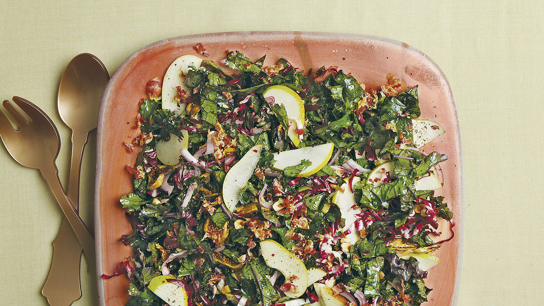 Kale and Radicchio Salad with Pancetta, Pears, and Figs