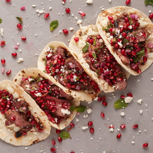 lamb tacos with pomegranate salsa