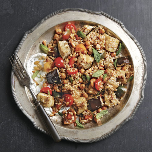 Freekeh Eggplant Chickpea Salad