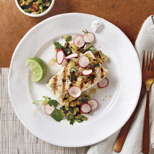 Halibut with Tomatillo Salsa