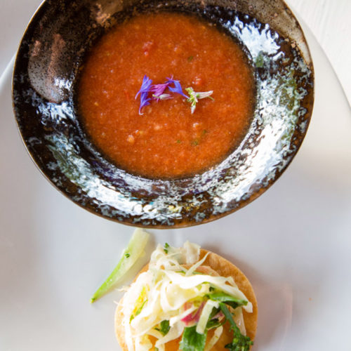 watermelon gazpacho with shrimp tostadas