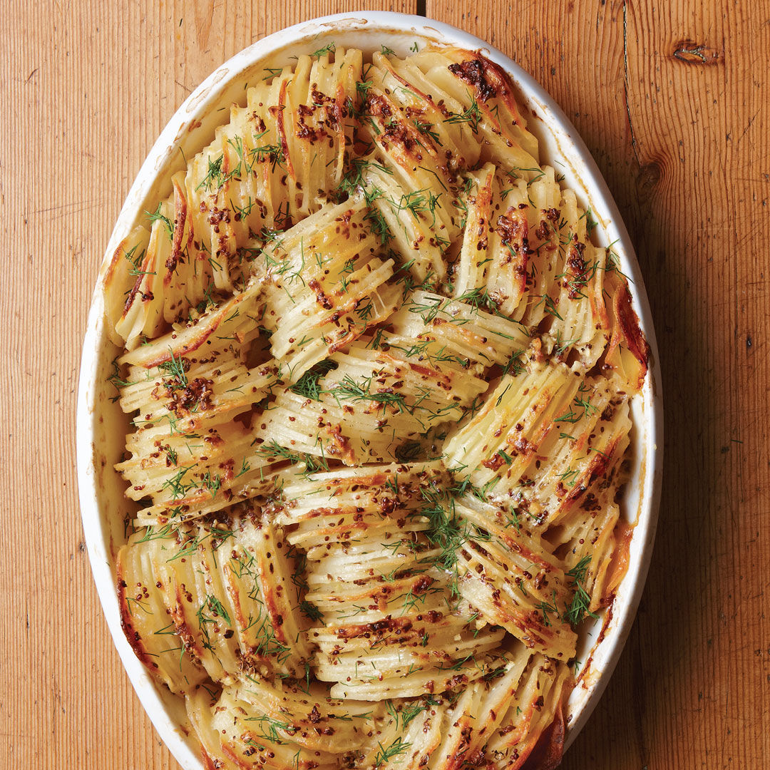 Hasselback Russet Potato Gratin Recipe Finecooking