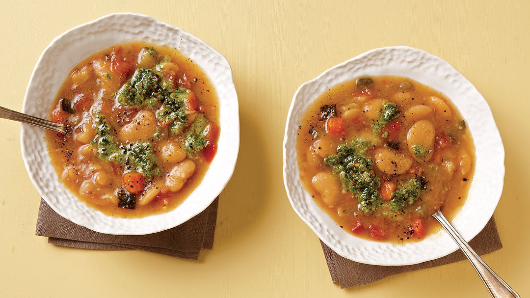 Butter Bean Minestrone With Basil Pistou