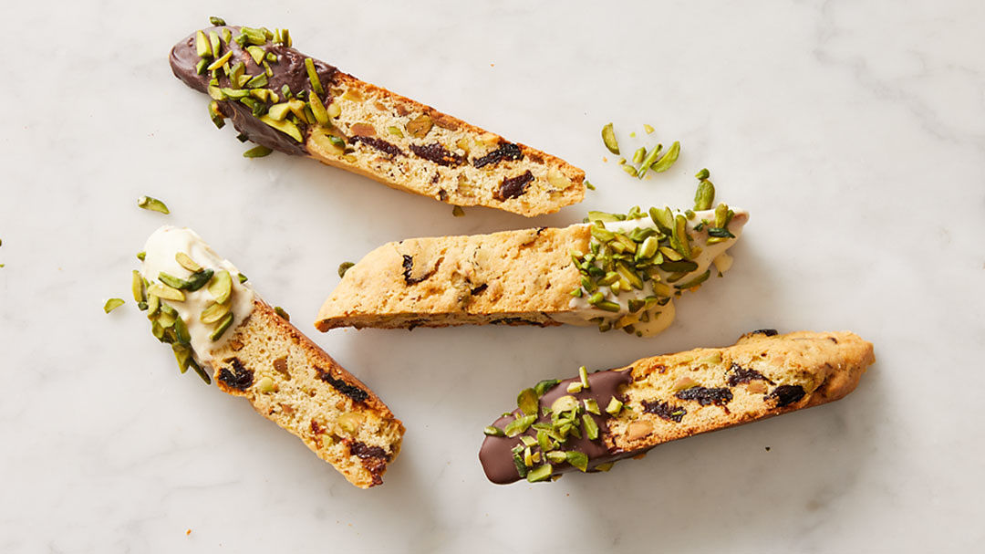 Chocolate-Dipped Cherry-Pistachio Biscotti