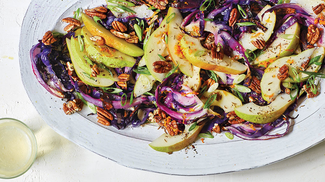 Roasted Cabbage Salad with Pears and Pecans