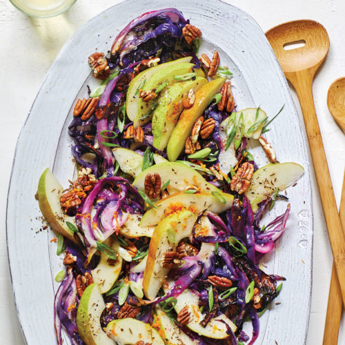 Roasted Cabbage and Pear Salad