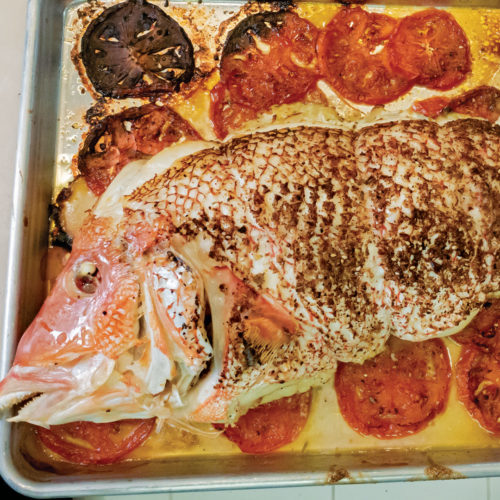 leek-fennel-stuffed whole fish