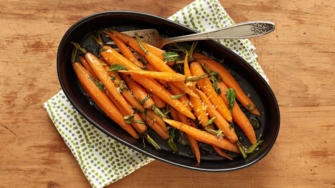 Baby Carrots with Meyer Lemon, Honey, Basil, and Mint