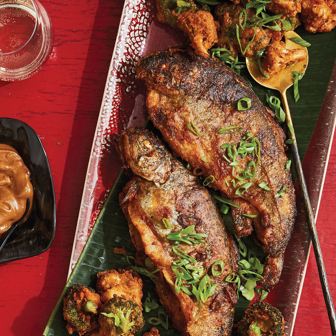 Tea Smoked Beer Battered Trout And Vegetables Recipe Finecooking