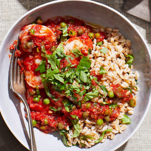 Shrimp, Farro & Tomatoes