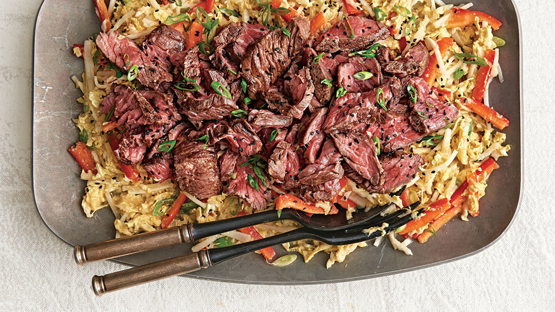 Steak and Napa Cabbage Salad with Miso Dressing