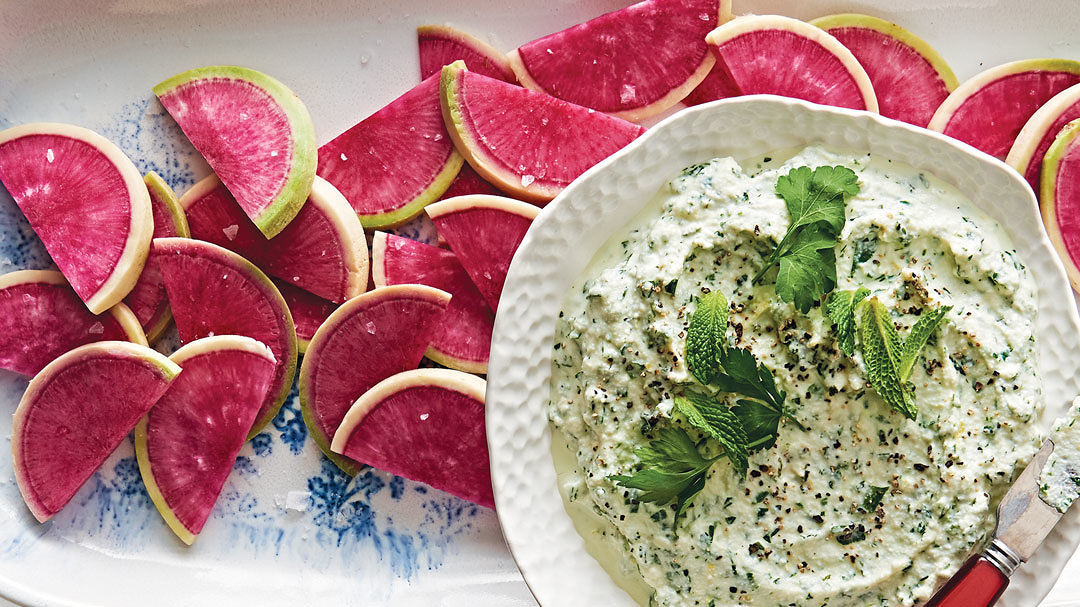 Watermelon Radishes with Lemony Herb Ricotta Dip