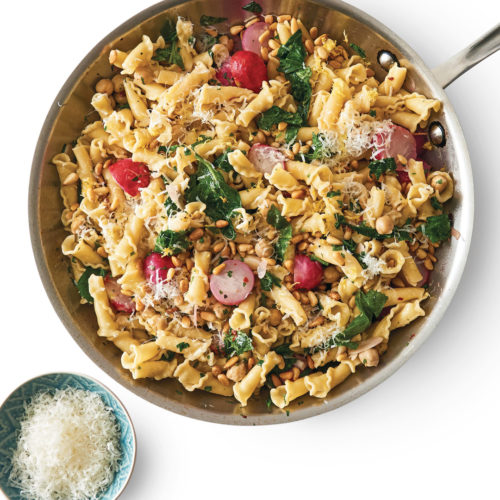 Pasta with radishes and greens