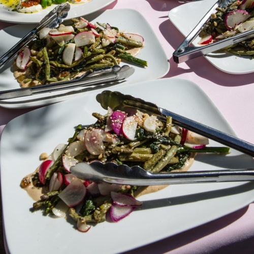 grilled broccolini and long beans