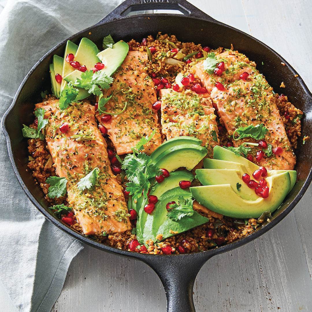 Skillet-Roasted Salmon With Avocado, Pomegranate, And
