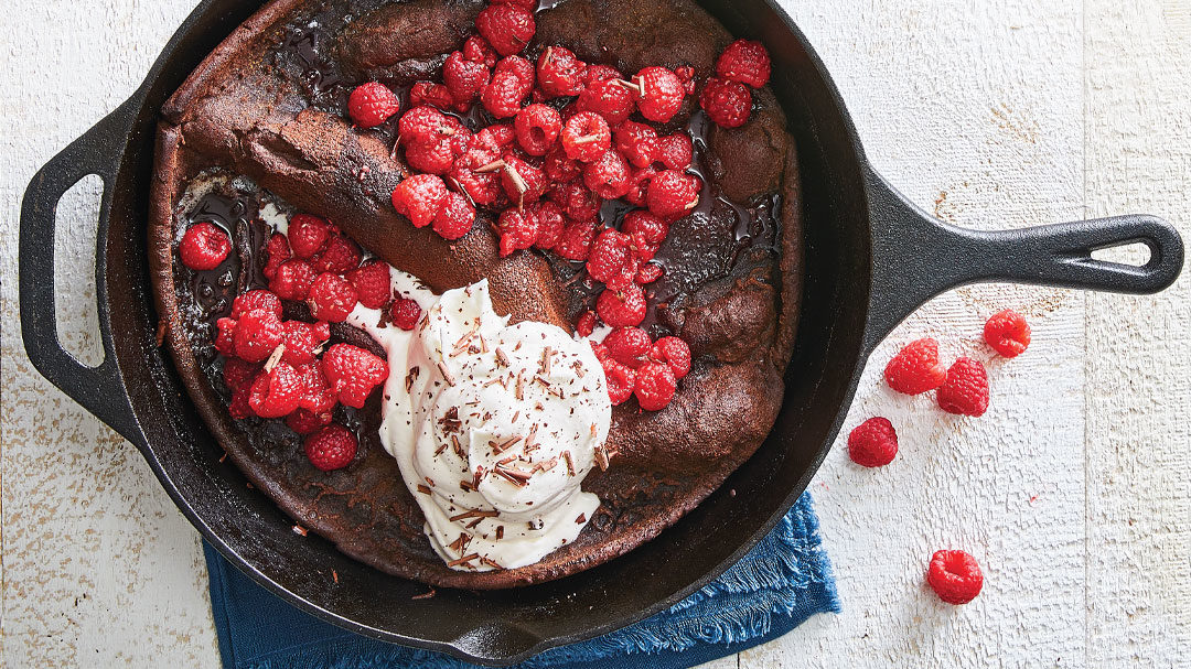 Chocolate Dutch Baby with Raspberries